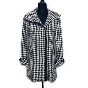Calvin Klein houndstooth zippered wool coat